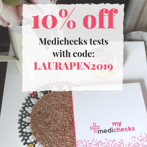 10% off full price tests at Medichecks with code LAURAPEN2019
