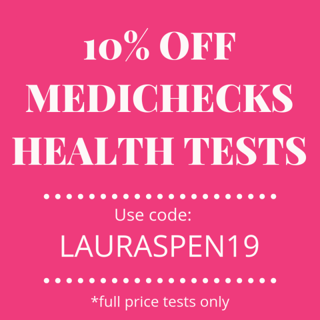 Medichecks UK health tests. 10% off with discount code LAURAC2019