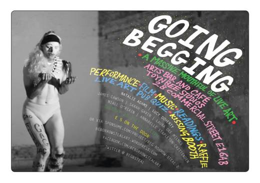 Going Begging flyer by Sarah Gavin, image by Billy Taylor 2013