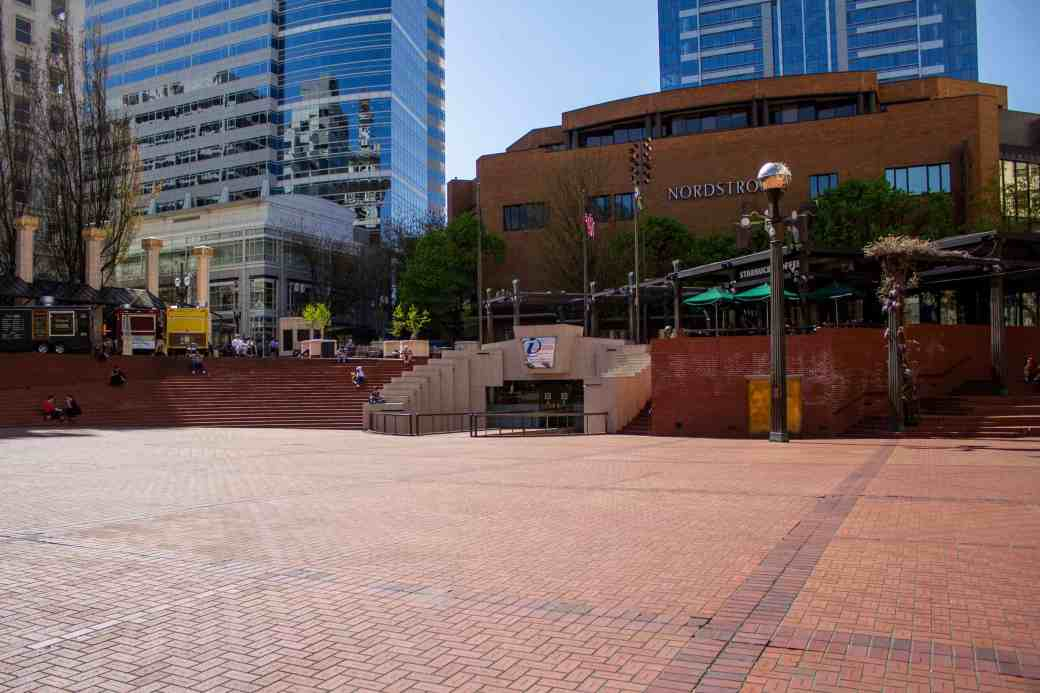 Pioneer Courthouse Square, Portland, OR - How to Spend a Long Weekend in Portland - www.lauraenroute.com