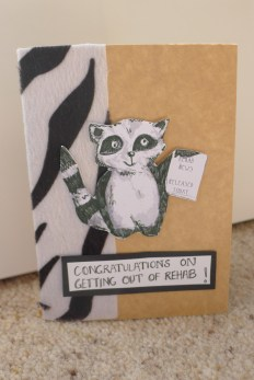 Raccoons for rehab card - mounted