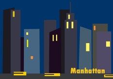 Manhattan at night high contast yellow with deep blues