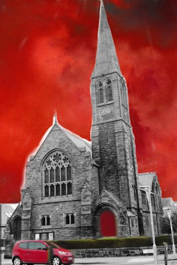 Bringing red into the church image with Photoshop think this looks clumsy