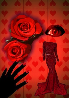 Used my own rose photograph altered colour, red of hearts playing card backdrop repeat wtih filters, think this says red is seductive, passionate, daring, love etx