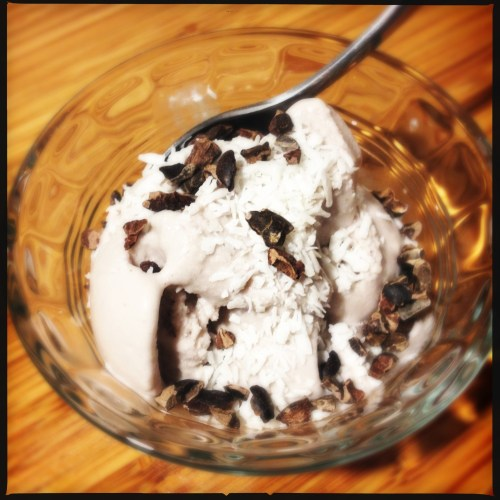 Coconut Ice Cream topped with Cacao Nibs and Coconut flakes (unsweetened)