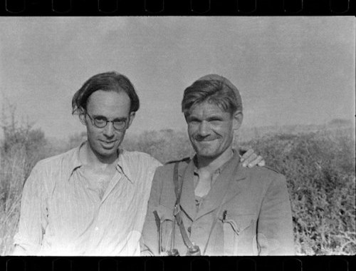 SPAIN, Brinete. July. 1937. CLAUD COCKBURN(left) and FRED COPEMAN, commander of British battalion