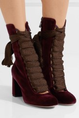 Chloé Lace-Up Velvet Ankle Boots