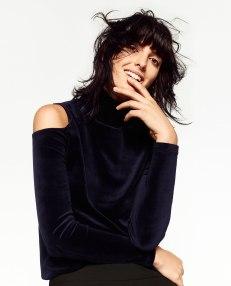 Zara Velvet Cut-Out Shoulder Sweater