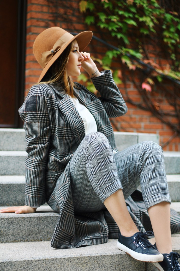 pattern mix glencheck coat checkered trouser lauraherz munich