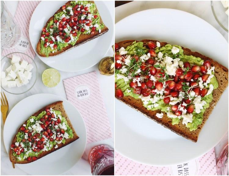 Avocado Bread with Feta and Pomegranate Seeds