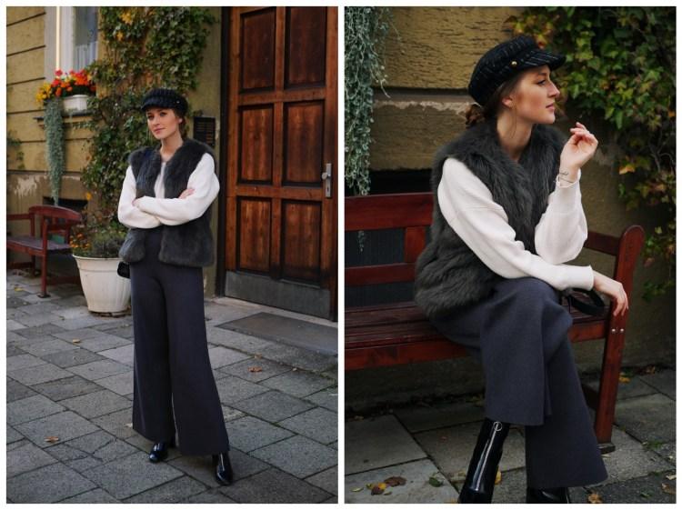 Weite Hose, Pullover mit Fledermausärmeln und Fake-Fur Weste