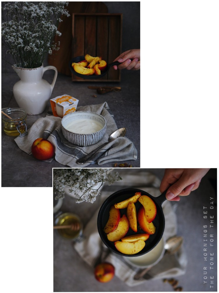 Breakfast with caramelized pear