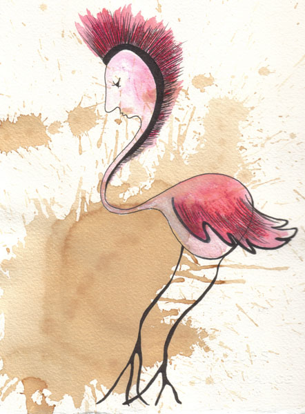 'Red Bird dipping toes into dreams', watercolour by Laüra Hollick