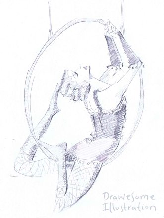 Pencil sketch of a circus performer on the aerial hoop, dressed in burlesque costume.