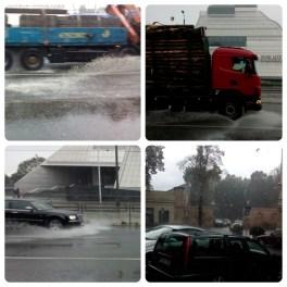 Trampen in strömendem Regen