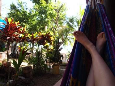 So macht man Urlaub. Die Hängematte direkt vor unserer Tür in Santa Catalina.