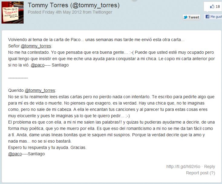 Tommy Torres le pone música a la voz de los fans: