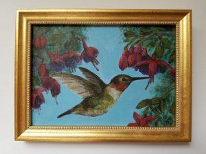 Springtime Hummingbird by Laura Jaen Smith. Framed acrylic painting of hummingbird with fushia flowers.
