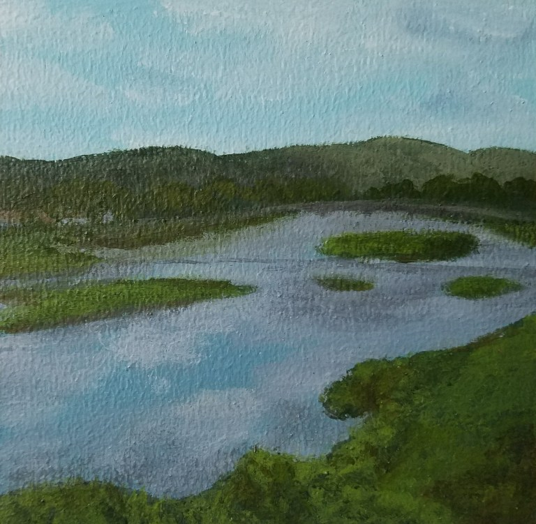 Chemung River from Main Street by Laura Jaen Smith. Acrylic landscape painting of Elmira looking towards Walnut Street Bridge from Around the Finger Lakes series.