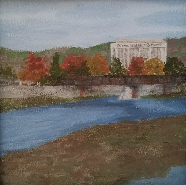 Chemung River in Autumn by Laura Jaen Smith. Acrylic landscape painting of Chemung River with colored fall trees and Chemung Canal Trust Company building in distance from Around the Finger Lakes series.
