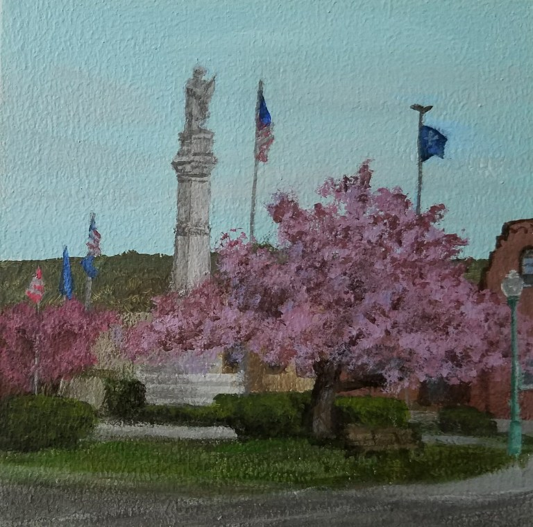 Draper Park in Spring by Laura Jaen Smith. Acrylic landscape painting of downtown Owego from Around the Finger Lakes series.