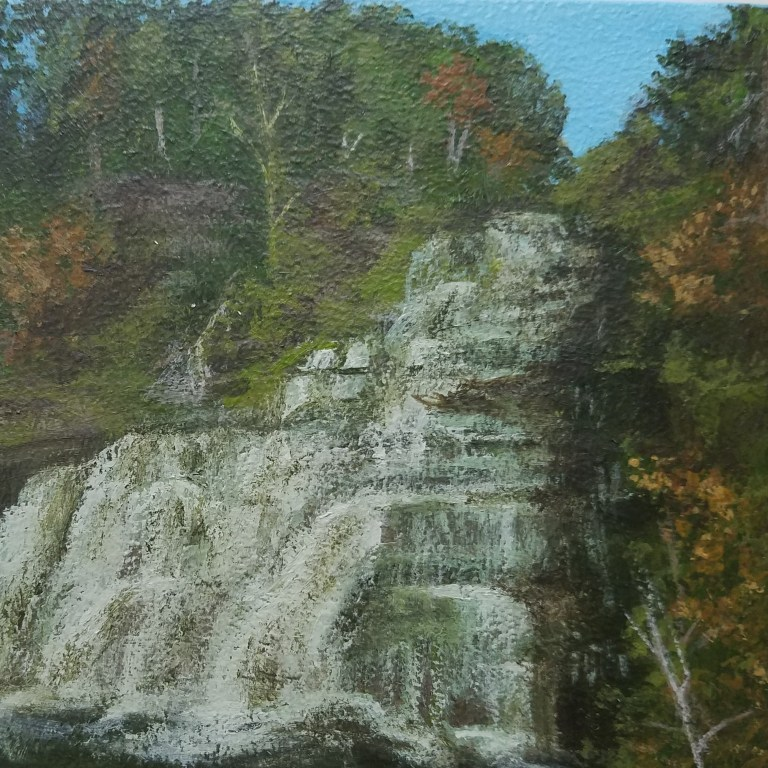 Hector Falls by Laura Jaen Smith. Square acrylic landscape painting of waterfall in autumn. Around the Finger Lakes series.