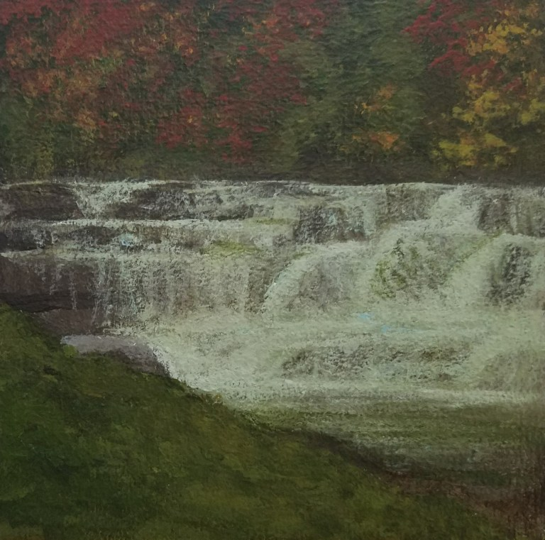 Lower Taughannock Falls by Laura Jaen Smith. Square acrylic landscape painting of waterfall in autumn. Around the Finger Lakes series.