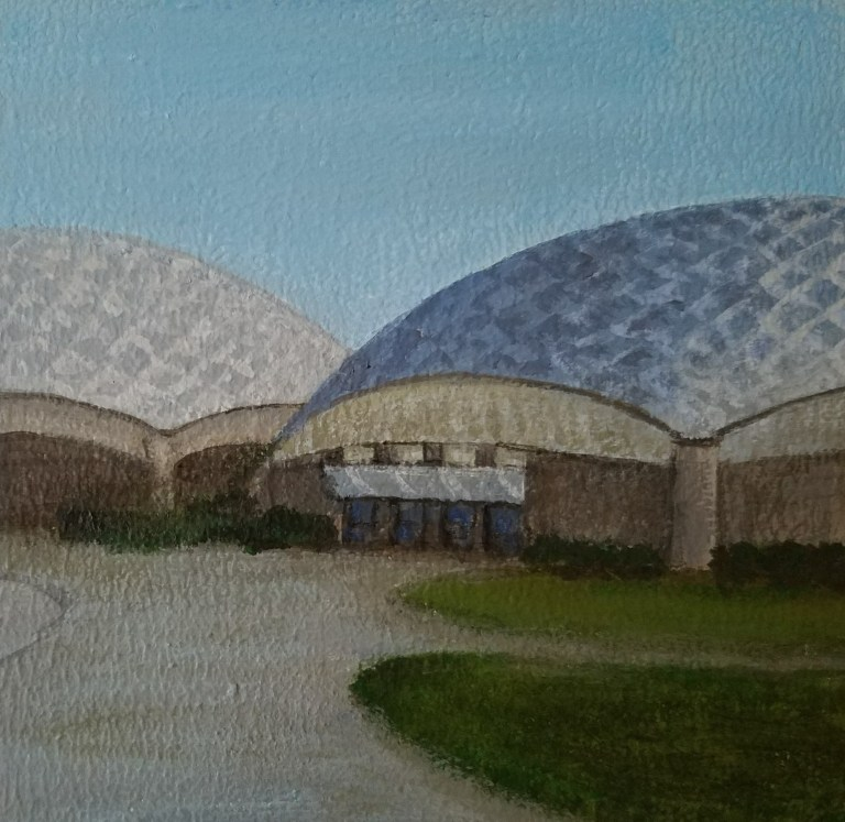 Murray Domes by Laura Jaen Smith. Square acrylic landscape painting of Elmira College geodesic domes sports complex. Around the Finger Lakes series.