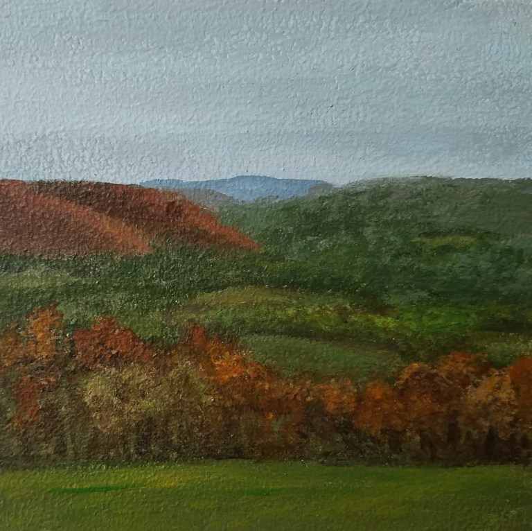 Overlooking Newtown by Laura Jaen Smith. Square acrylic landscape painting of overlooking Chemung Valley in autumn from Newtown Battlefield State Park.. Around the Finger Lakes series.