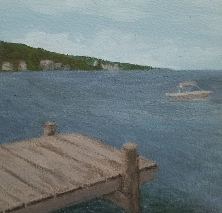 Seneca Lake Dock by Laura Jaen Smith. Square acrylic landscape painting of lakeside dock with boat in the distance.. Around the Finger Lakes series.