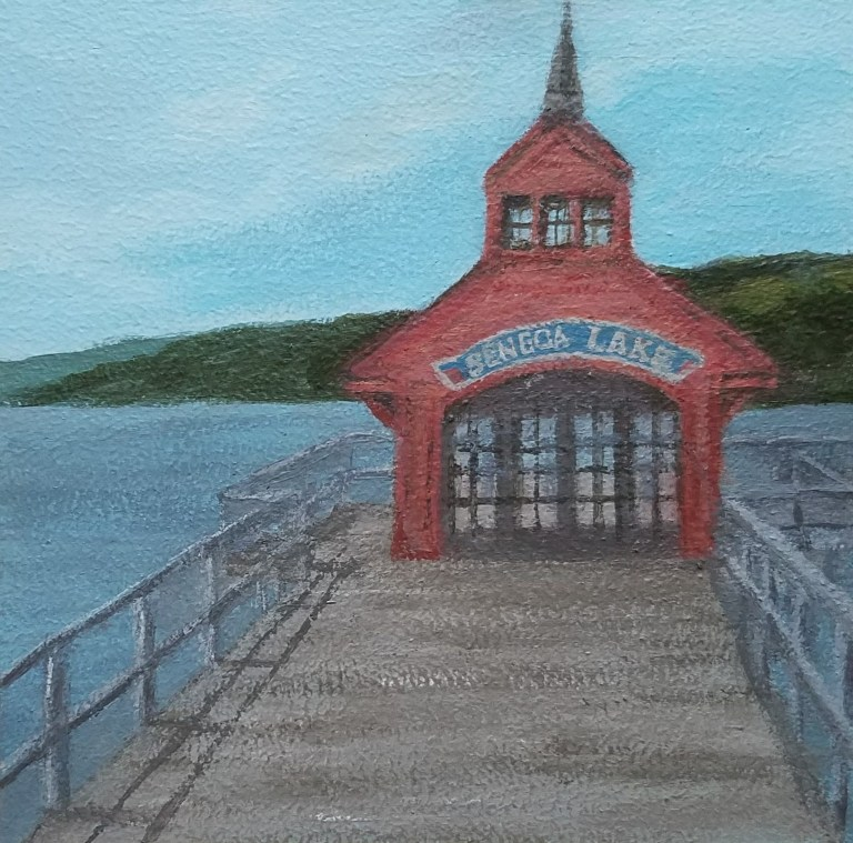 Seneca Lake Pier by Laura Jaen Smith. Square acrylic landscape painting of red building on Seneca Lake shore. Around the Finger Lakes series.