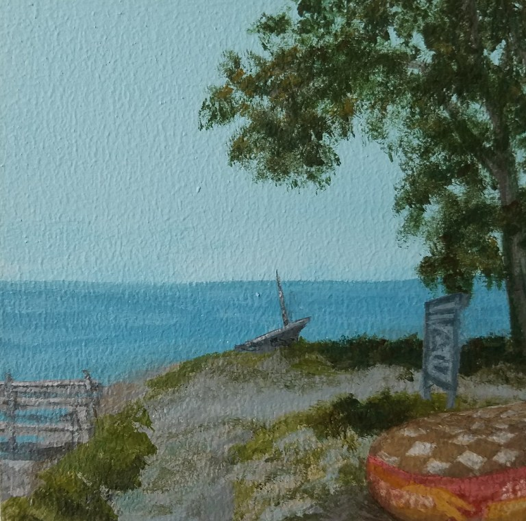 Seneca Lakeshore by Laura Jaen Smith. Square acrylic landscape painting of lakeside beach with dock, tube, boat in distance.. Around the Finger Lakes series.