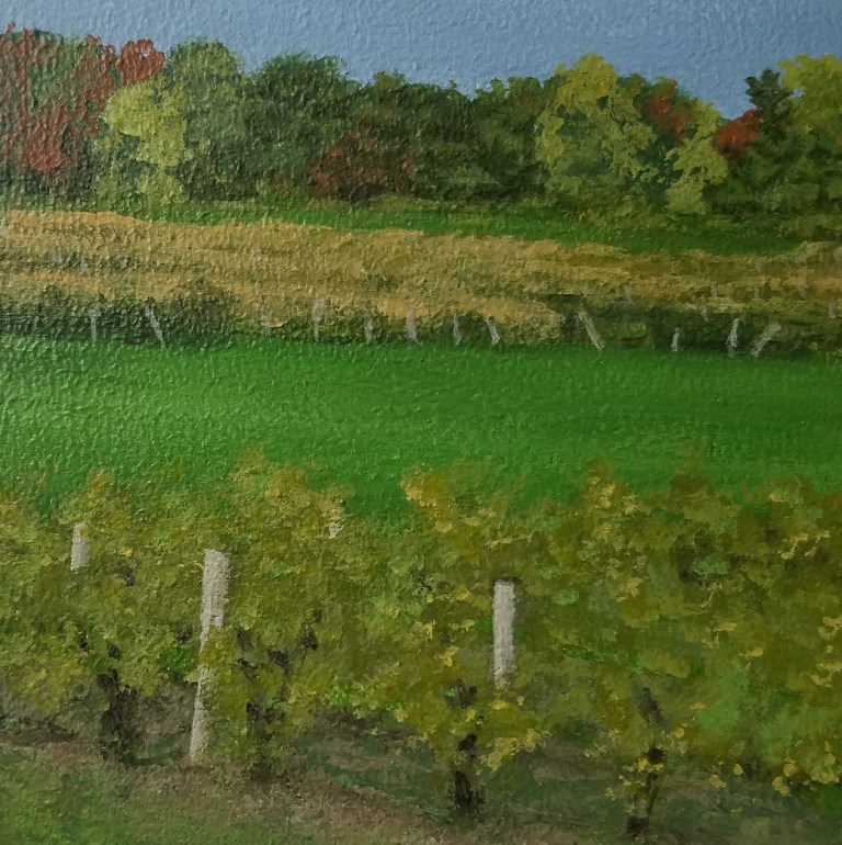Seneca Vineyard by Laura Jaen Smith. Square acrylic landscape painting of field of grape vines with Seneca Lake in distance.. Around the Finger Lakes series.