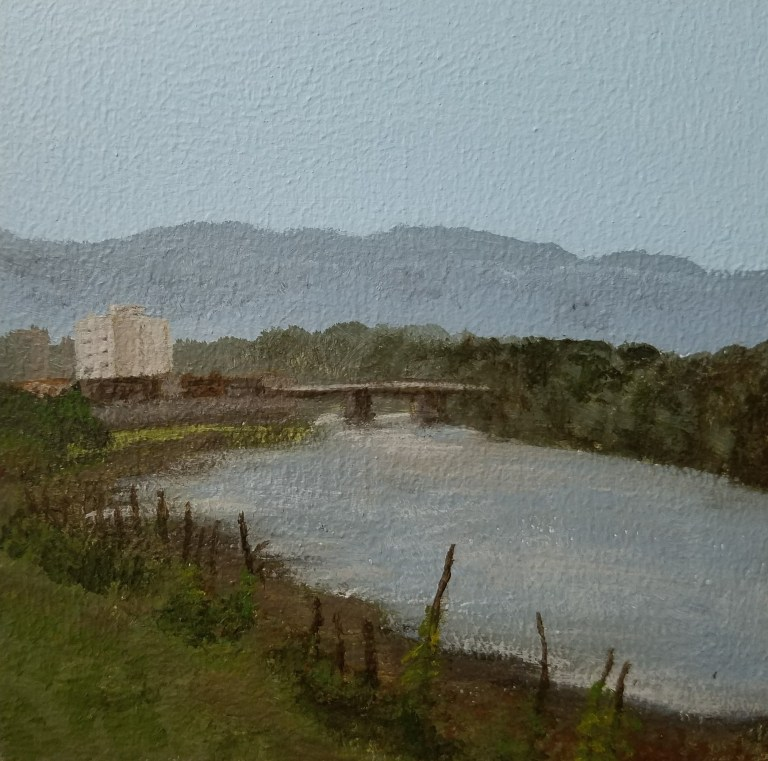 Susquehanna Rivery by Laura Jaen Smith. Square acrylic landscape painting of river scene in Binghamton NY. Around the Finger Lakes series.