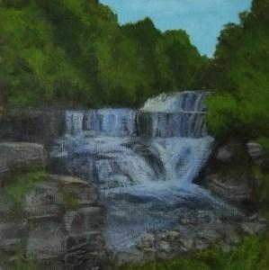 Seneca Mill Falls by Laura Jaen Smith. Acrylic landscape painting of waterfall along Keuka Outlet Trail Penn Yan. 50 NY Waterfalls Project.