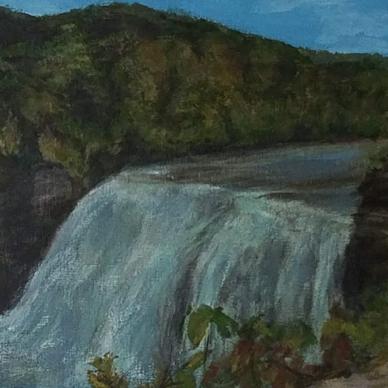 Letchworth Middle Falls by Laura Jaen Smith. Acrylic landscape painting of waterfall in Letchworth State Park from 50 NY Waterfalls Project.