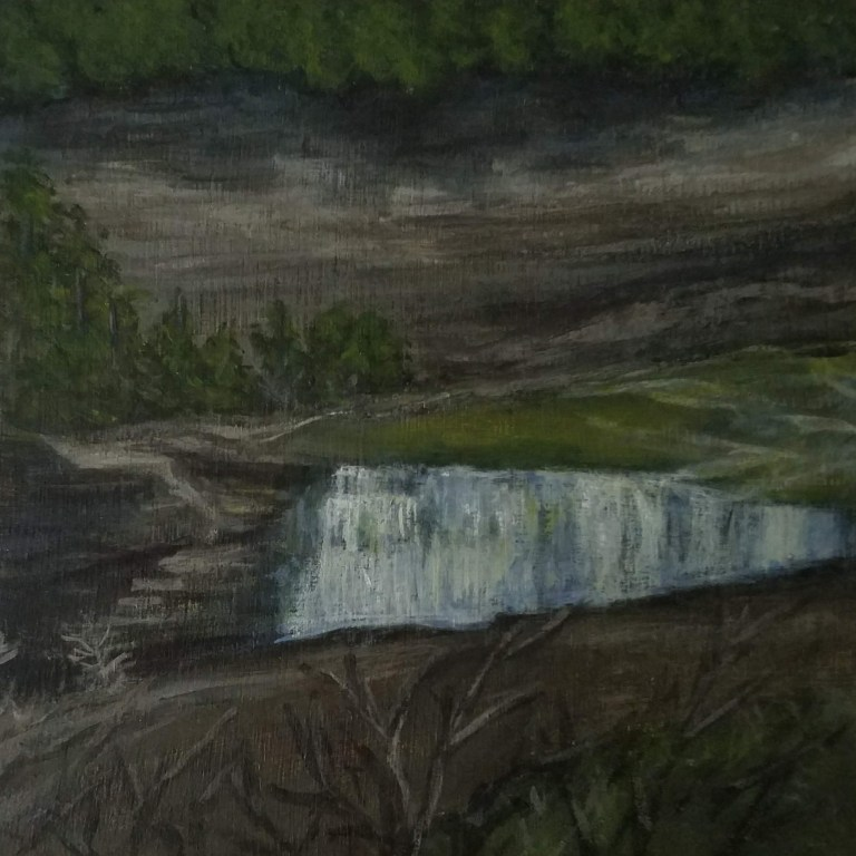 Letchworth Lower Falls by Laura Jaen Smith. Acrylic landscape painting of waterfall in Letchworth State Park from 50 NY Waterfalls Project.