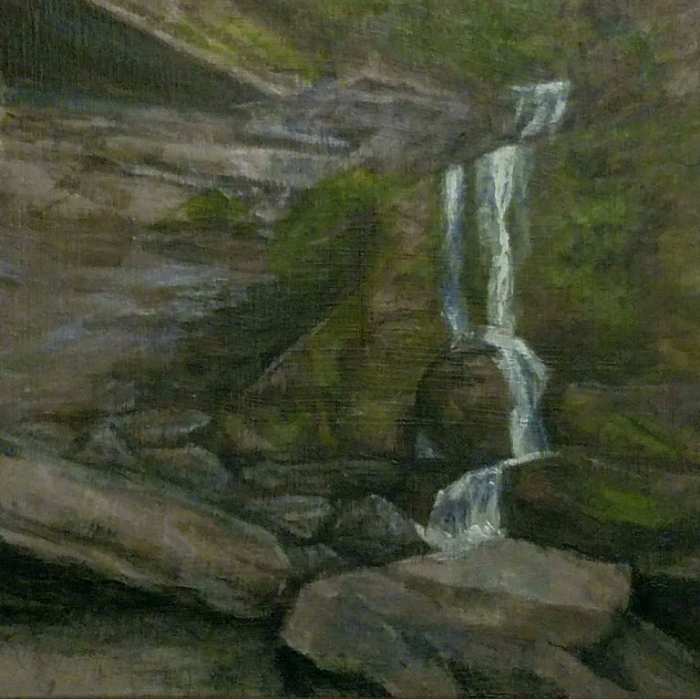 Cowshed Falls by Laura Jaen Smith. Acrylic landscape painting of waterfall in Fillmore Glen State Park Moravia from 50 NY Waterfalls Project.