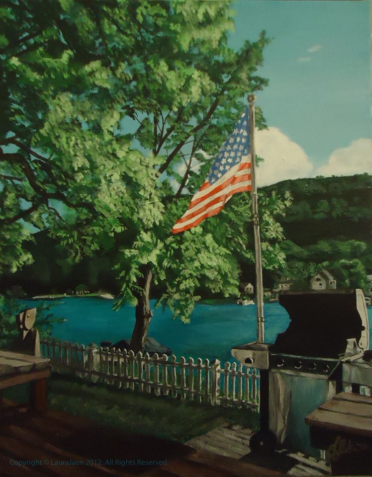4th of July by Laura Jaen Smith. Acrylic landscape painting of cottage lakeside bbq with American flag.