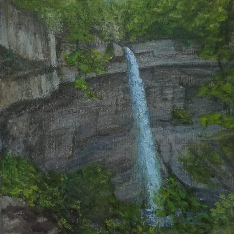 Carpenter Falls by Laura Jaen Smith. Acrylic landscape painting of waterfall in Moravia from 50 NY Waterfalls Project.