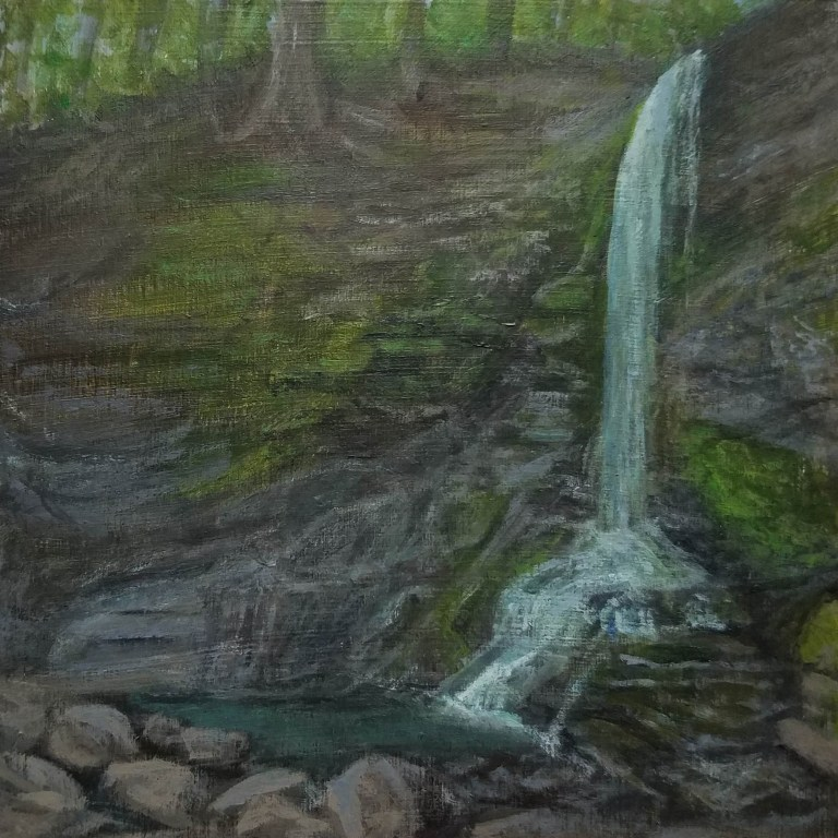 Bucktail Falls by Laura Jaen Smith. Framed acrylic waterfall painting Spafford from 50 NY Waterfalls Project