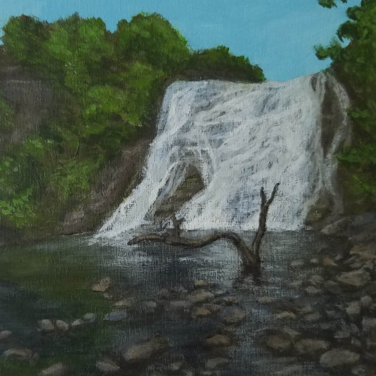 Ithaca Falls by Laura Jaen Smith. Acrylic landscape painting of waterfall in Fall Creek Gorge from 50 NY Waterfalls series.