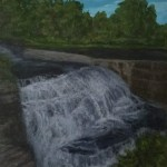 Triphammer Falls Upper Falls by Laura Jaen Smith. Acrylic landscape painting of Fall Creek Gorge waterfall. 50 NY Waterfalls Project.