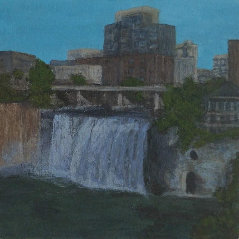 High Falls by Laura Jaen Smith. Acrylic landscape painting of Rochester waterfall from 50 NY Waterfalls Project.