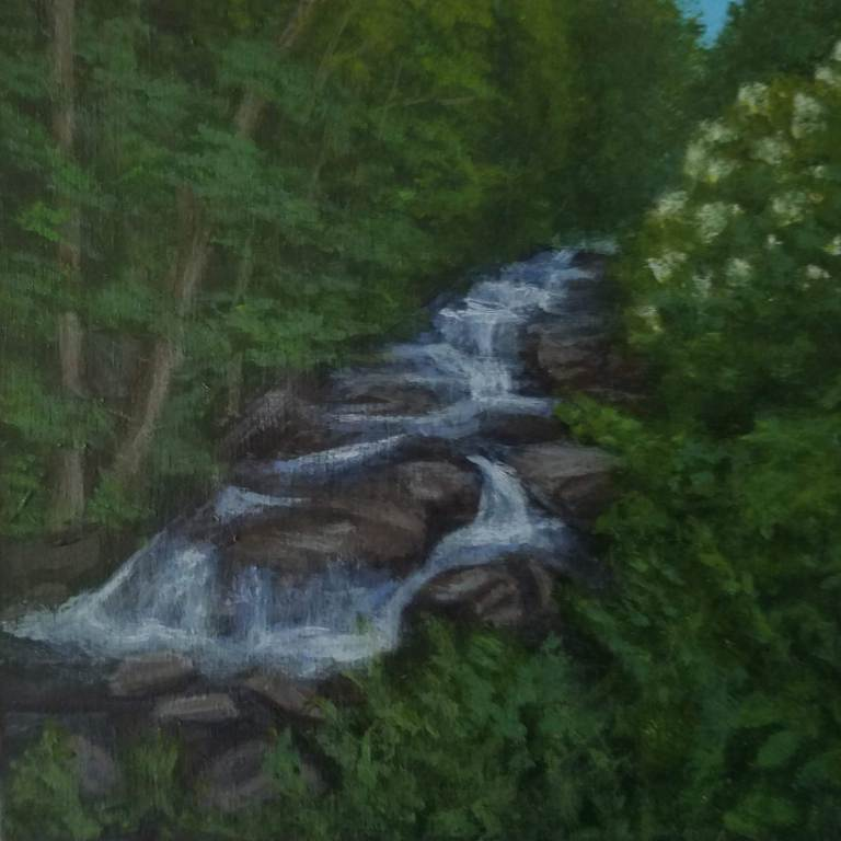 Stockbridge Falls by Laura Jaen Smith. Acrylic landscape painting of waterfall CNY from 50 NY Waterfalls Project.