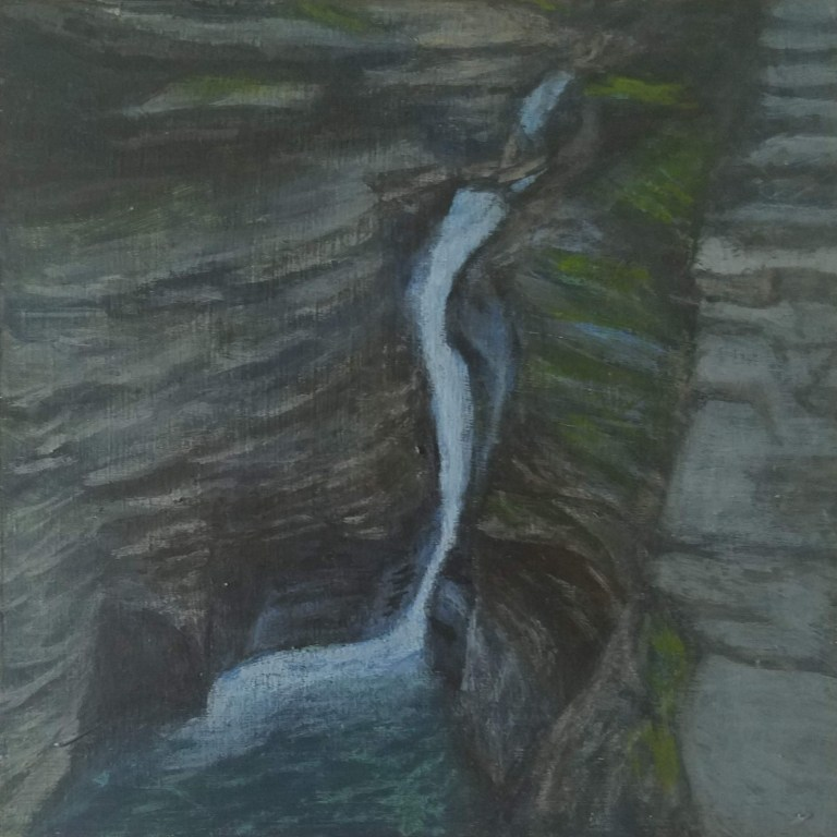 Pluto Falls by Laura Jaen Smith. Acrylic landscape painting of waterfall in Watkins Glen State Park from 50 NY Waterfalls Project.