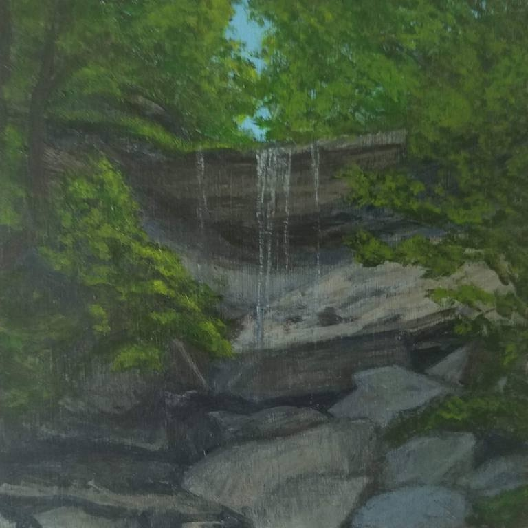 Tinker Falls by Laura Jaen Smith. Acrylic landscape painting of waterfall in Labrador Hollow Unique Area Tully from 50 NY Waterfalls Project.