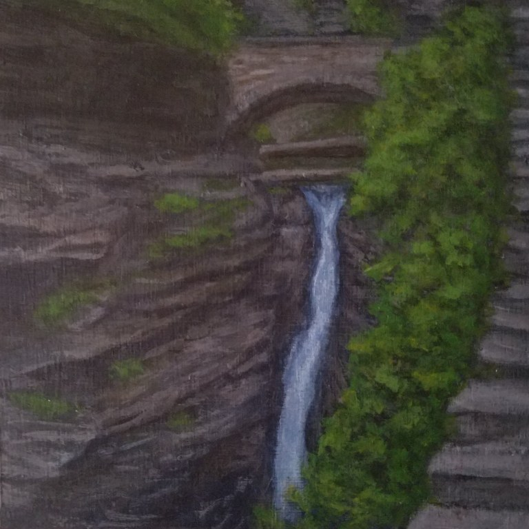 Central Cascade by Laura Jaen Smith. Acrylic landscape painting of waterfall in Watkins Glen State Park from 50 NY Waterfalls Project.