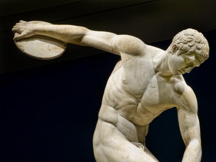 The Diskobolos, Roman copy of Greek bronze statue, 450 BCE.