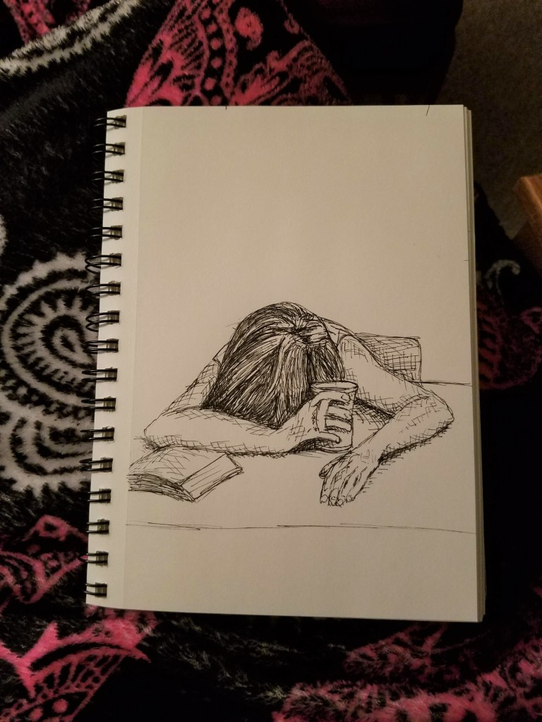 Sketchbook view of Exhausted by Laura Jaen Smith. Black and white ink drawing of person head on table asleep with coffee cup in hand.